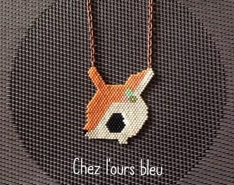 Deer necklace with miyuki beads