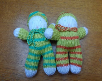 SET of 2 Elves - tone yellow and green