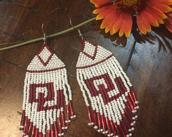 Red and White Beaded OU earrings