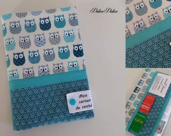 """customizable health book """"graphic Blue owls"""" with inscription """"my health book"""""""