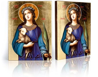 Icon St. Agnes- handmade religious wood icon, gilded, beautiful gift, 4 sizes to choose.
