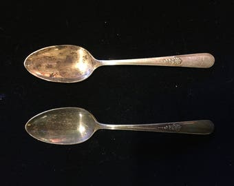 Set 2 Holmes & Edwards YOUTH Spoons Inlaid International Silver plate Vintage