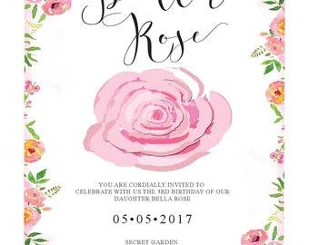 Secret Garden inspired invitation