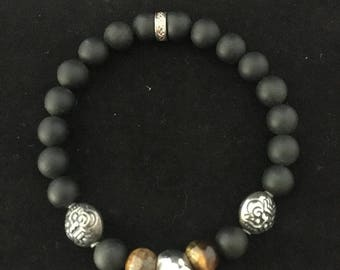 8 mm Onyx bead bracelet with sterling silver accents