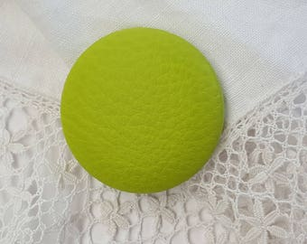 Lime green leatherette 38mm button