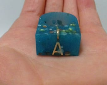 Letter A Blue resin ring with glitter and gold flakes