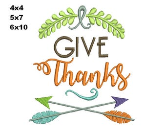 Thanksgiving GIVE Thanks  Thanksgivings Machine Embroidery design  instant download