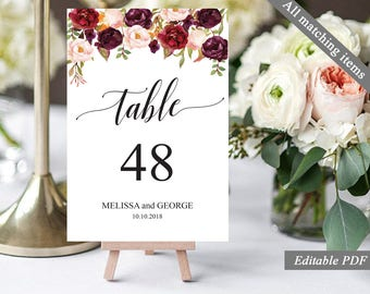 Wedding Table Number Template. Printable Table Number. Marsala Burgundy Blush Bohemian Floral Calligraphy Table Number. Instant Download