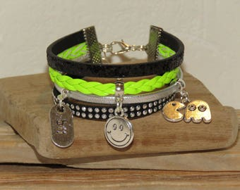 "Cuff Bracelet, multi-row, neon yellow black, silver glitter, leather, suede studded for teenager ""VIDEO games - smiley face"""