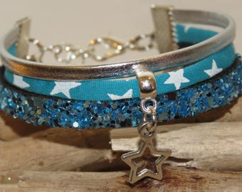 """Girl """"turquoise Star"""" Cuff Bracelet leather, leather glitter, and bias, silver and turquoise"""