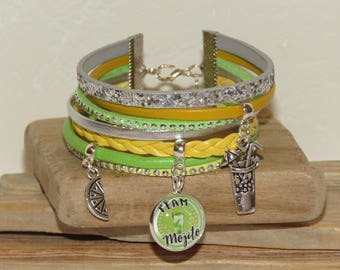 """Team Mojito"" leather, suede and leather Cuff Bracelet sequins, yellow, green and silver"