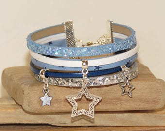 "Cuff Bracelet ""summer night - stars"" leather, with glitter, suede, bias, pastel blue color."