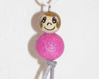 "Necklace for girl - girl - glitter - snowman with wooden beads ""smile ball"" fully customizable and hand painted figurine"