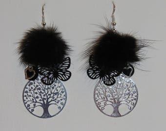 """Tree of life, butterfly, hearts """"earrings Poumpoumpidou"""" prints, black fur tassel earrings Pimprenellecreations"""