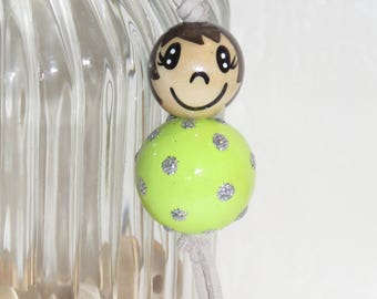 "Keychain doll with wooden beads, bag charm, ""smile ball"" entirely handpainted, personalized, lime green color"