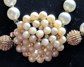 Double Strand Pearl Choker - Vintage Signed Crown Trifari Faux Pearl and Rhinestone Cluster Double Stranded Choker Necklace