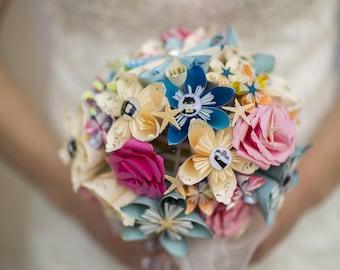 Wedding themed paper flower bouquet