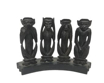 Mid Century Carved Ebony Monkeys - See No Evil, Hear No Evil, Speak No Evil & Do No Evil