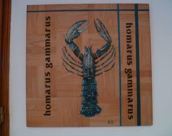 Lobster breton homarus gammarus: Acrylic paint on wood