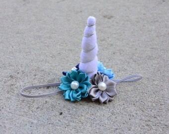 White Felt Unicorn Horn - Blue Floral Unicorn Headband