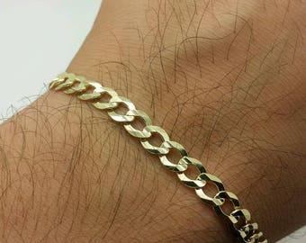 "14k Solid Yellow Gold High Polish Cuban Curb Link Chain Bracelet 8.5"" 5.7mm"