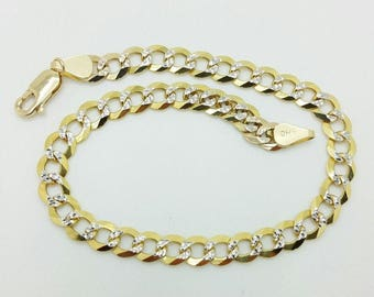 "14k Solid Yellow Gold Diamond Cut Pave Cuban Curb Link Chain Bracelet 8.5"" 5mm"