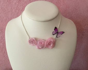Pink necklace, wedding necklace, Fimo necklace pink