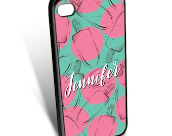 Pink and Green Popsicles Personalized Phone Case
