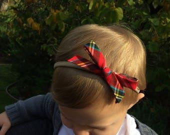 Holiday Collection - Plaid Tartan Schoolgirl Bow Headband