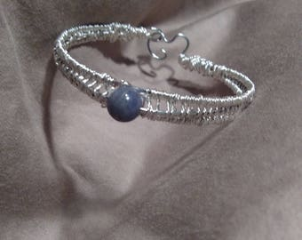 silver wire wrapped bangle with tanzanite gemstone/bead