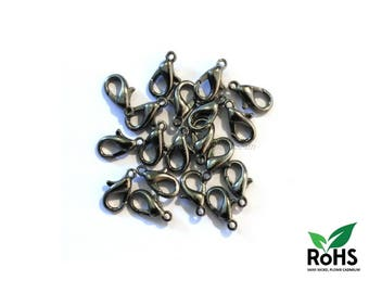 Zinc - 10mm or 12mm - 10 or 100 Gunmteal Lobster Clasps