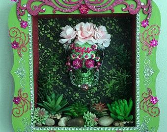 """Sugar Skull / Dia de Los Muertos Shadow box, offrenda """"Queen of the Agave"""""""