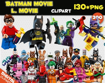 Batman Movie Clipart / Lego Movie Clipart 130 PNG 300dpi Images Digital Clip Art Instant Download Graphics transparent birthday party