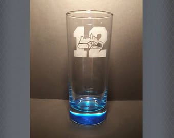 Etched Seahawk highball glass