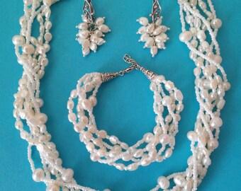 Set necklace + bracelet + earrings Natural river pearls