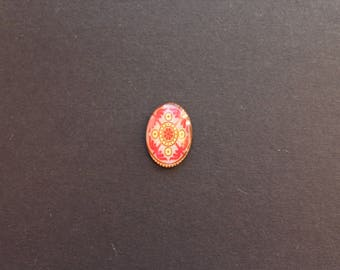 Cabochon 18 x 25 mm glass oriental / ethnic Red