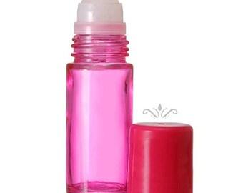 6 Pink Glass Roll On Bottles - 30 ML