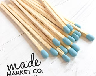 Powder Blue Colored Tip Matches. Match Sticks Refills Unbottled 50 Count. Farmhouse Home Decor Gifts for Her Best Seller Most Popular Item