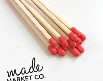 Red Colored Tip Matches. Match Sticks Refills Unbottled 50 Count. Farmhouse Unique Home Decor. Gifts for Her. Best Seller Most Popular Item