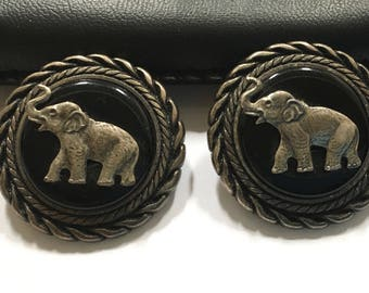 Sterling Elephant Earrings Silver Figural Animal Pierced Ear Jewelry Republican Party Good Luck Vintage Christmas