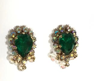Faux Emerald Earrings Rhinestone Clip Dangle Jewelry May Birthstone Christmas Green Vintage