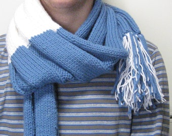 Sweet blue and white woolen home man scarf