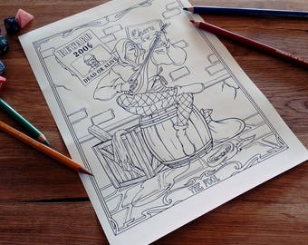 Medieval Coloring Pages For Adults : Wall art wall decor occult art print poster dungeons and