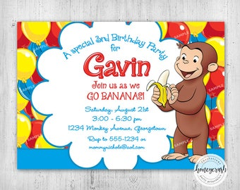 Curious George Birthday Invitation - Printable Digital File