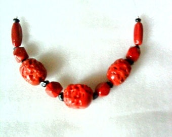 Large coral imitation Pearl Necklace