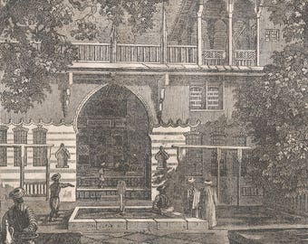 Interior Courtyard of a House near Damas, Syria 1838 - Old Antique Vintage Engraving Art Print - Arch, Ornamental, Railing, Windows, Trees