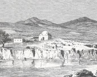 Algeria 1889, Sidi Bou Nouar, Old Antique Vintage Engraving Art Print, Building, Mosque, Dome, Hills, Mountain, Man, Animals, Farmer, Tree