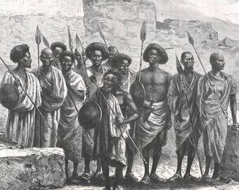 Somalia 1885, The Etnachar, Old Antique Vintage Engraving Art Print, Man, Warrior, Weapon, Spear, Shield, Black, Parapet, Robe, Cap, Sandal