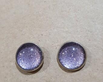 Lavender Sparkly Glass Studs