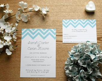 Blue Zig-Zag Chevron Personalised Wedding Invite & RSVP Card Set with Envelopes